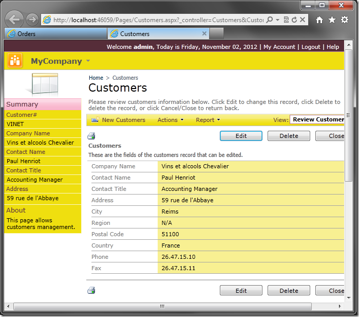 Customers form opened in new tab.