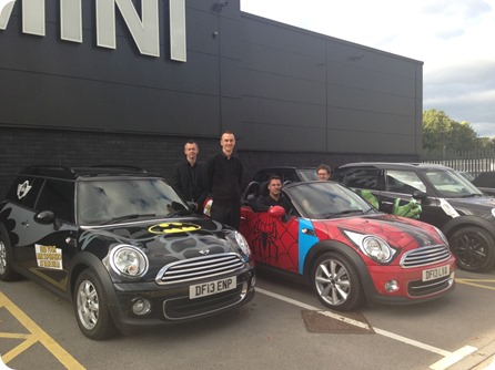Blue Bell MINI Crewe's Paul Legerton, Ben Andrews, Michael Sayward and Joe Wardle with the dealership's #MININotNormal Superhero cars