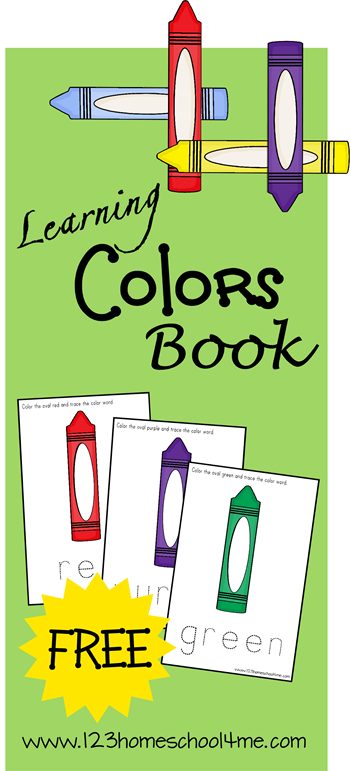 FREE Learning Colors Book - Toddler and Preschool kids will love creating their own color book. Includes matching and fine motor skills practice.