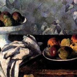 Paul Cezanne: Plato frutero. Ny Carlsberg Glypotek. Copenhage. Postimpresionismo
