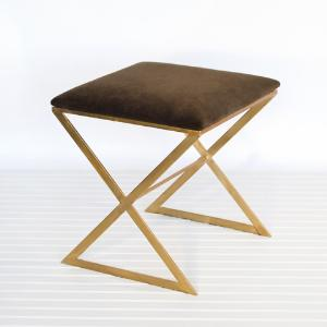 Brown Velvet and Gold X Stool (wellappointedhouse.com)