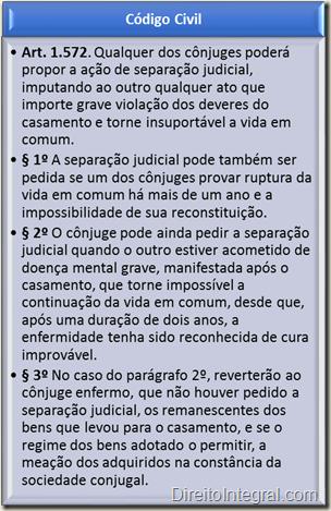 Código Civil, Art. 1.572 - Separação-Sanção, Falência e Remédio