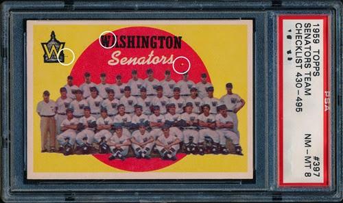 1959 Topps 397 Washington Senators Team and Checklist with variations