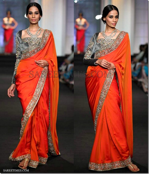 Ashima_Leena_Orange_Saree