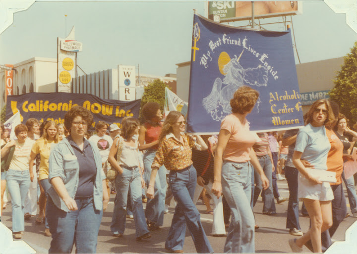 Alcoholism Center for Women group marching in the Los Angeles Christopher Street West pride parade. 1977
