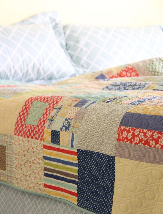 Cluck Cluck Sew finished strips and squares quilt