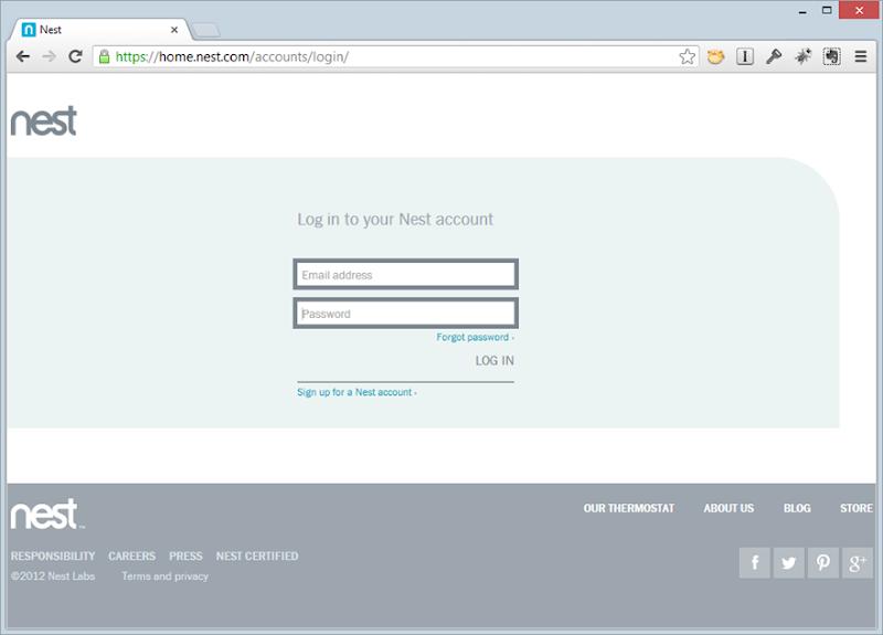 The Nest web login page