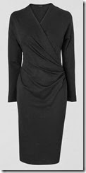 Jaeger Side Ruched Black Jersey Dress