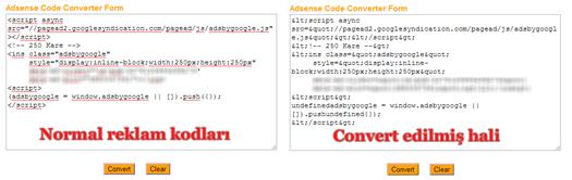 Adsense reklam kodlarını convert etme