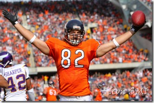 19 October 2008: Chicago Bears tight end Greg Olsen (82) celebrates a Bears touchdown.  The Bears defeated the Vikings by a score of 48 to 41 at Soldier Field, Chicago, Illinois.