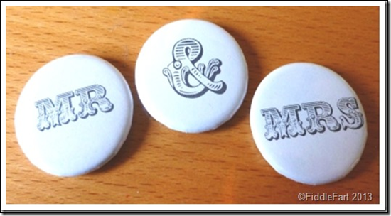 Mr and Mrs Wedding Badges