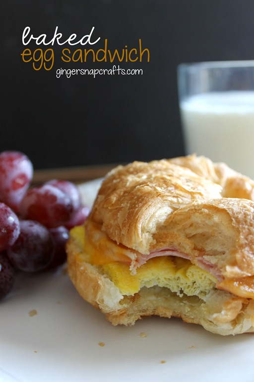Baked Egg Sandwich Recipe at GingerSnapCrafts.com #recipe #egg