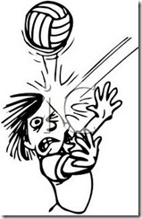 0511-0902-0418-3910_Black_and_White_Cartoon_of_a_Kid_Getting_Hit_in_the_Face_with_a_Volleyball_clipart_image