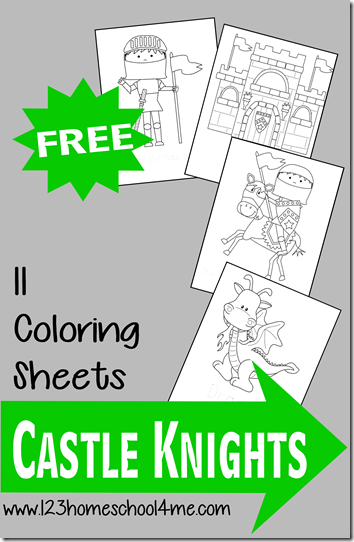 Free Castle Knight Coloring Pages for Kids - Fun for toddler, preschool and kinderarten to color