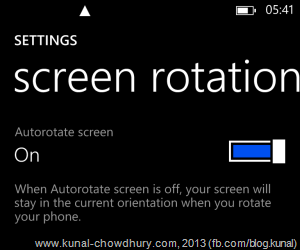Windows Phone 8 GDR 3 - Screen Rotation Settings page