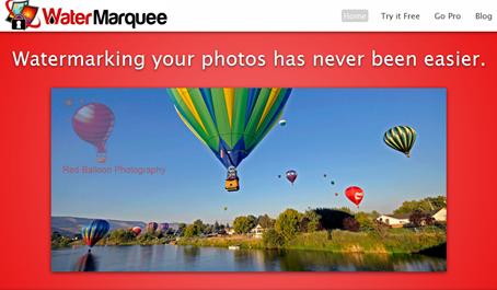 Página inicial do WaterMarquee.com com exemplo de uma foto usando outra imagem como marca d'água.