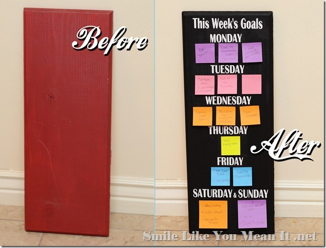 Weekly Goals Board Before and After
