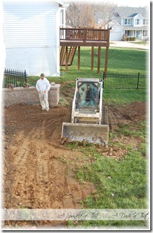 Stamped concrete patio dirt removal {A Sprinkle of This . . . . A Dash of That}