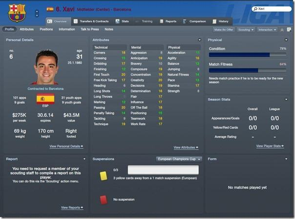 Xavi in Football Manager 2012
