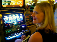 Steph playing the slots in the Venetian.