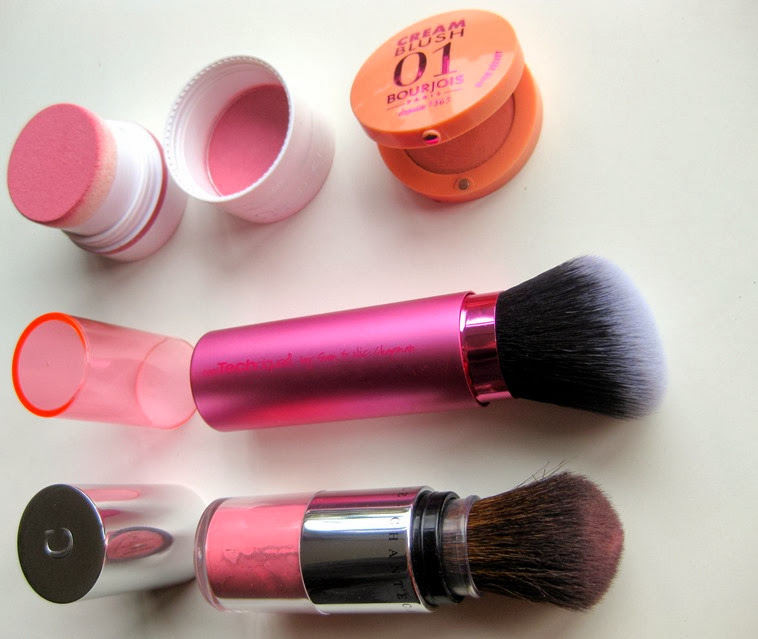 Real-Techniques-Retractable-Kabuki-Brush, New-CID-iBlossom-Rose, Chantecaille-Akoya, Bourjois-Nude-Velvet-Cream-Blush-pics
