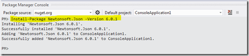How to install nuget package for JSON.NET from package manager console