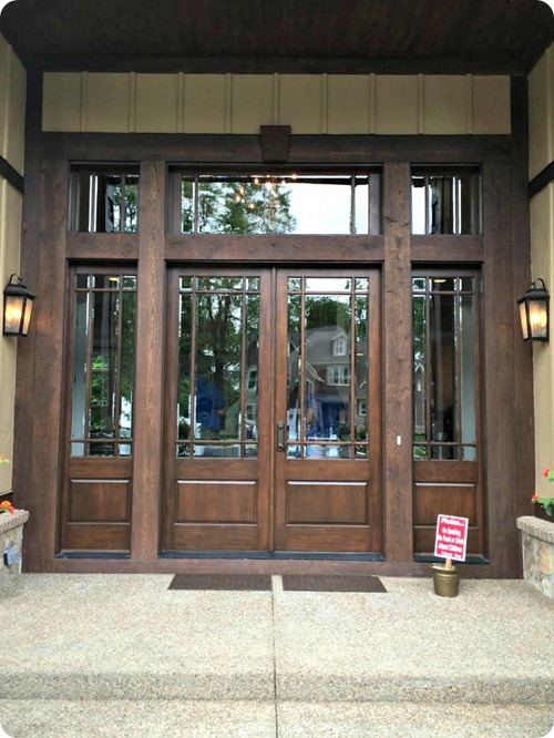 glass front doors with transom