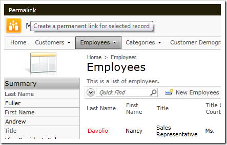 Permalink option on membership bar of a Code On Time web application