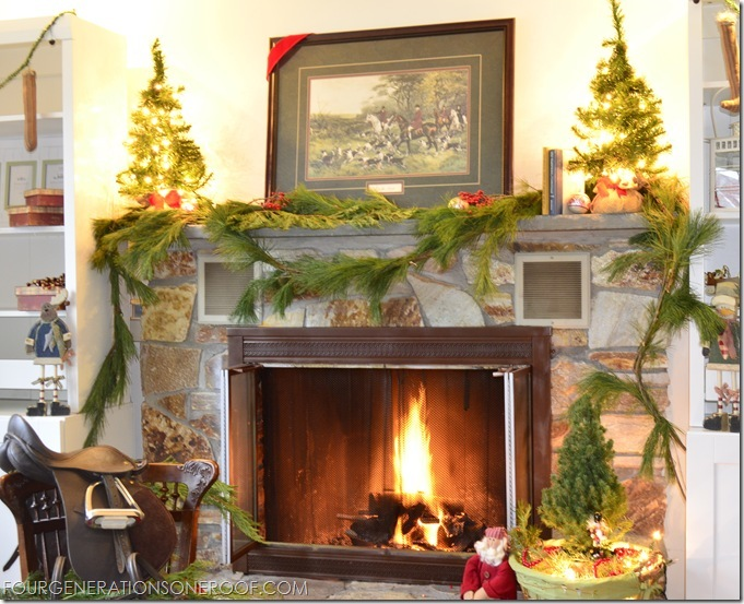 Equestrian themed mantel for Christsmas