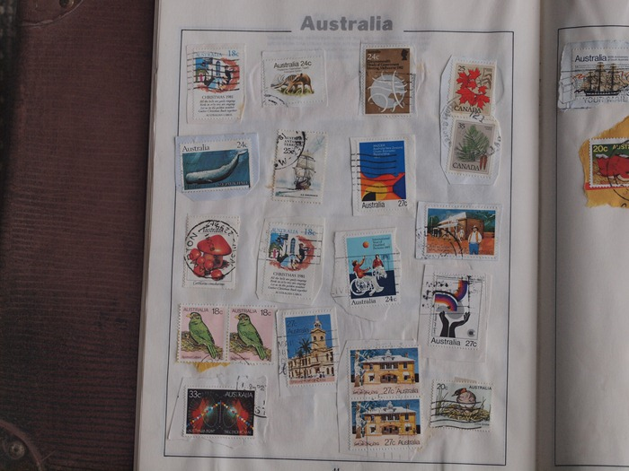 page from childhood stamp album