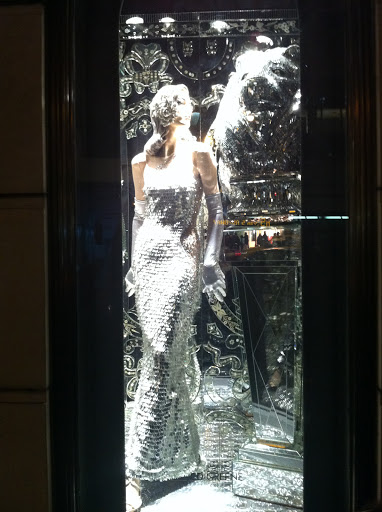 I love the glitz and glamour of this silver, sequined window.