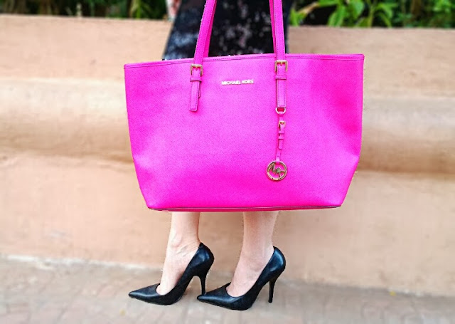 Micheal Kors Pink Jet Set Tote Bag, Zara Black Pointed Toe Shoes