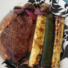 Johnny Garlic's Grilled Peppered Steak With Cabernet Balsamic Sa
