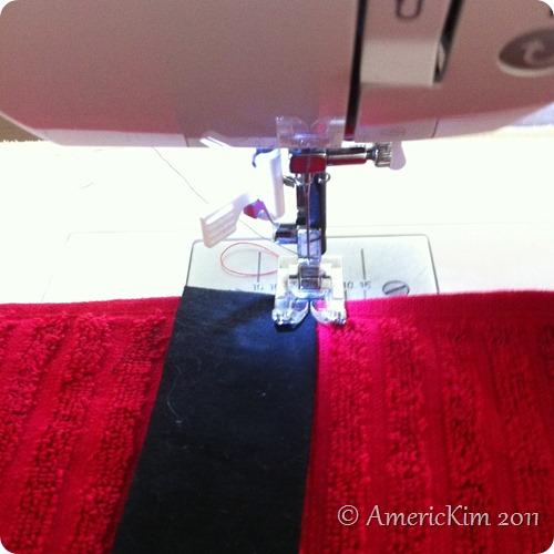 Sew Santa's Belt to towel