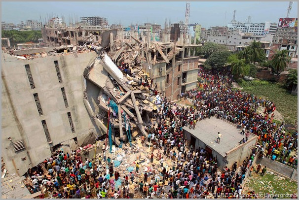The aftermath of the Rana Plaza collapse. Take a stand! Share this post and CLICK to visit the Worker Rights Consortium site to get more information.