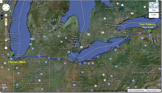 Palmyra, New York to Chicago, Illinois Map