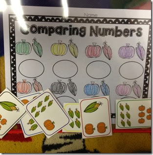 This one is a little different than my other centers, the students have to identify if the corn or pumpkins have more, then write the number in the circle.