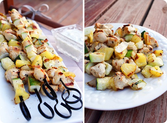 Chicken Pineapple Zucchini Onion Kebabs