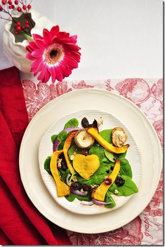 valentines day place setting with squash heart salad