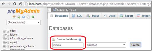create database idioms