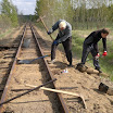 Museum railway have totally 14 kilometres of mainline track between Jokioinen and Humppila. That means lots of repair work from year to another. Marko Laine (left) and Marko Tuominen are changing wooden sleepers in near Palomäki halt in Minkiö-Humppila line.