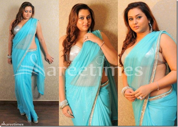 Namitha_Blue_Saree