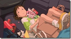 Spirited Away Chihiro Sulks in Car