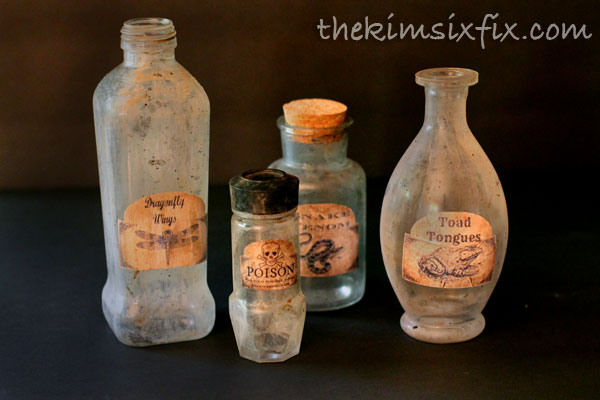 Distressed glass jars