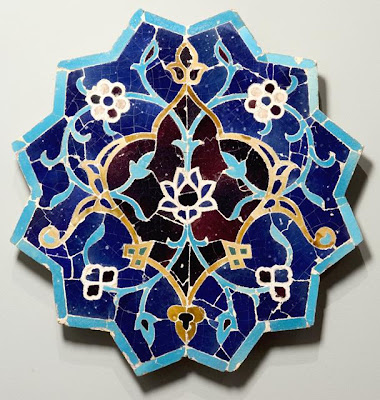 Tile Los Angeles County Museum of Art | Origin: Greater Iran | Period:  15th century | Collection: The Madina Collection of Islamic Art, gift of Camilla Chandler Frost (M.2002.1.19) | Type: Ceramic; Architectural element, Fritware, glazed, cut to shape and assembled as mosaic, Diameter: 23 1/2 in. (59.69 cm); Depth: 1 1/2 in. (3.81 cm)