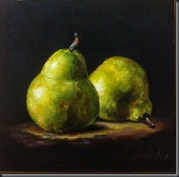 Green Pears on Wood