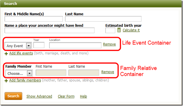 The Ancestry.com simple search form