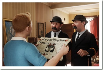 (L to R) Tintin (Jamie Bell), Inspectors Thompson and Thomson (Simon Pegg and Nick Frost) in THE<br />ADVENTURES OF TINTIN: THE SECRET OF THE UNICORN.