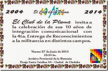 INVITACIÓN 10º ANIVERSARIO EL CLUB DE LA PLUMA 2014