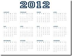 2012 Calendar Printable AllStar SJB